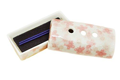香炉 桜白 ピンク ホワイト 横型安全ミニ香皿 ろうそく8本入り Cセット