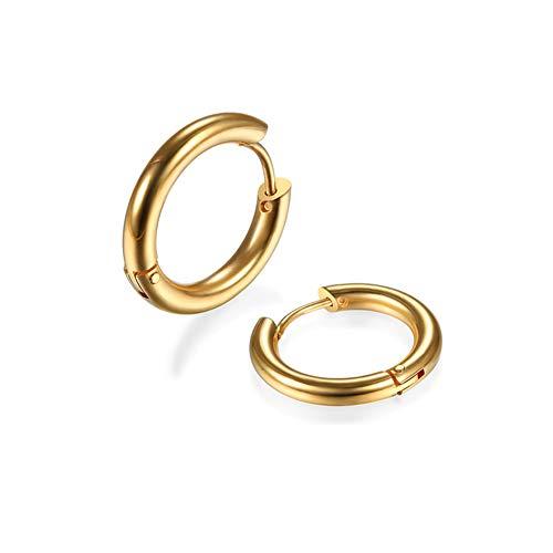2Pcs 316L Surgical Stainless Steel Huggie Hoop Earrings 8mm Hypoallergenic Earrings Hoop Cartilage Helix Lobes Hinged Sleeper Earrings for Men Women(Gold 8mm)
