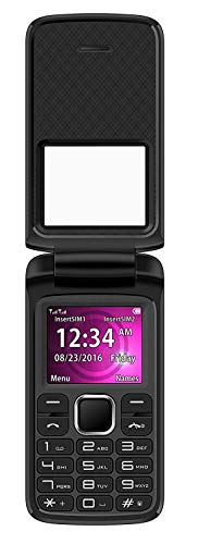 BLU Zoey Flex Unlocked GSM (AT&T + T-Mobile) Dual-SIM Flip Cell Phone w/Quick-Glance Window, Black