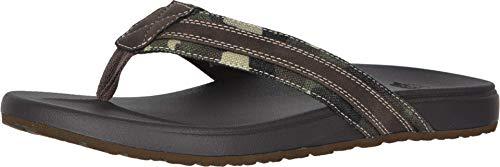 Dockers Mens Fletcher Casual Flip-Flop Sandal Shoe, Camo/Dark Brown, 10 M