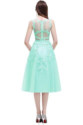 Damen Elegant Spitze Abschlussballkleid mit Perlen Homecoming Kleid Knilang Mintgrün 42