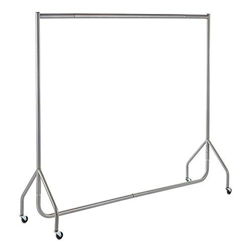 Shopfitting Warehouse Stabiler, Großer Kleiderständer, Garderobenständer – Robuste 183cm Lange Profi-Kleiderstange komplett aus Stahl in Silbergrau
