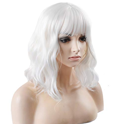 BERON 14 Inches White Wig Short Curly Wig Women Girl's Synthetic Wig White Wig with Bangs Wig Cap Included