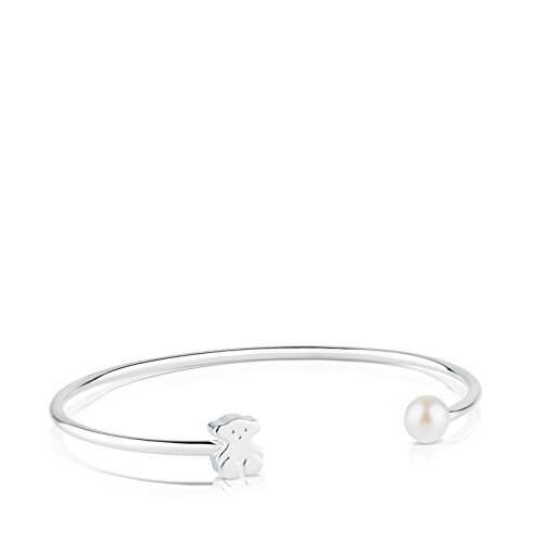 TOUS Sweet Dolls 925 Silver Bangle Bracelet with White Chinese Freshwater Cultured Pearl 6.0-6.5 mm