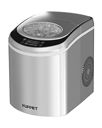 Portable Ice Maker for Countertop with LED Display Self-Cleaning Electric Ice Maker Machine with Scoop and Basket, 9 Ice Cubes Ready in 6 mins, 26 lbs Ice in 24 hrs(Silver)