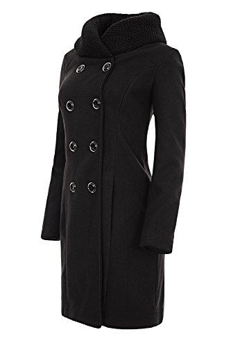 Laeticia Dreams Damen Winter Mantel Jacket Stehkragen XS S M L XL, Farbe:Schwarz;Größe:46