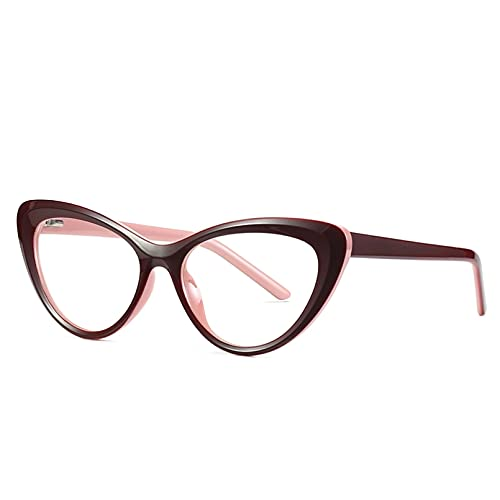 HHAA Monturas De Gafas Ópticas Retro con Ojo De Gato, Gafas Transparentes Vintage para Mujer, Anteojos De Ordenador con Luz Azul, Oculos De Grau Feminino
