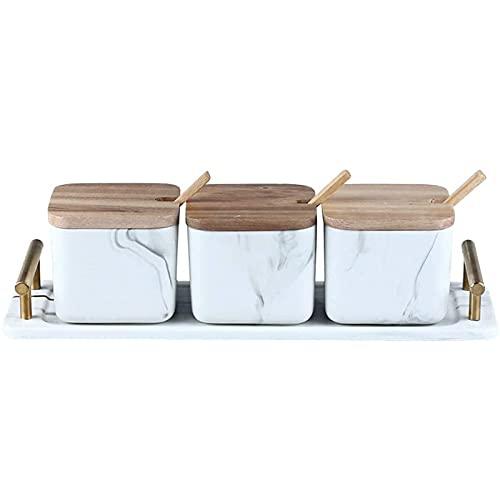 Contenitore Multifunzionale Contenitore per spezie Barattolo per condimenti con Coperchio Utensili da Cucina Prodotti in Marmo e Ceramica (Set da Tre Pezzi)