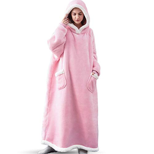 Bedsure Long Wearable Blanket, Sherpa Blanket Hooded, Oversized Blanket Sweatshirt with Deep Pockets and Sleeves for Adults Kids Teen, Pink