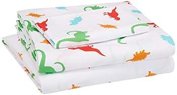 Amazon Basics Kid s Sheet Set - Soft Easy-Wash Lightweight Microfiber - Twin Multi-Color Dinosaurs