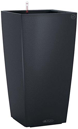 LECHUZA CUBICO Color 30, Schiefergrau, Hochwertiger Kunststoff, Inkl. Bewässerungssystem, Herausnehmbarer Pflanzeinsatz, Für Innen- und Außenbereich, 13138