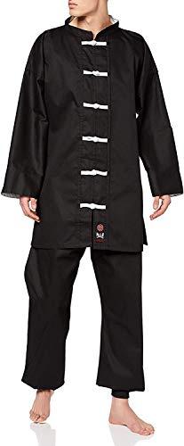 M.A.R International Kung Fu Uniform Gi Suit Outfit Clothing Costume Gear Martial Arts Wu Shu Wing Chun Tai Chi Cotton Fabric Black 160cm