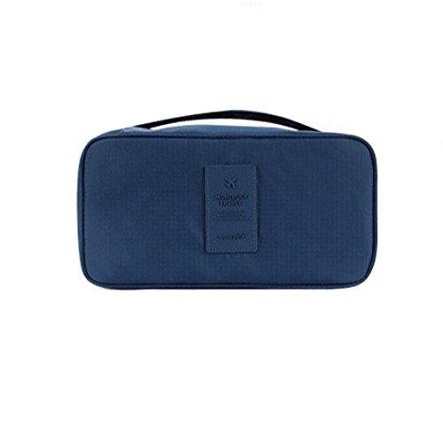 DELEY Portable Imperméable Soutien-Gorge Organisateur Bag Cosmétiques Sac De Rangement Bleu Foncé