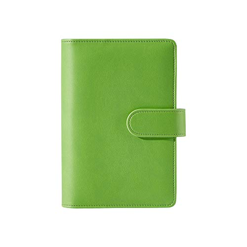 Sooez A6 PU Leather Notebook Binder Refillable 6 Ring Binder for A6 Filler Paper, Small Budget Binder Pocket Binder Personal Planner Binder Cover with Magnetic Buckle Closure, Green