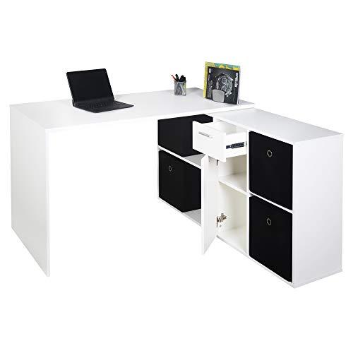RICOO Eck-Schreibtisch Arbeitstisch Winkel-Kombination Bürotisch (WM081-WM) Computer-Tisch (Flexibel 90-180°) Holz Hell Matt-Weiß mit Regal Akten-Schrank Low-Board