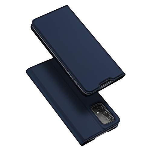 DUX DUCIS Funda Samsung Galaxy A52, PU Cuero Flip Carcasa Fundas Móvil de Tapa Libro para Samsung Galaxy A52 (Azul Marino)
