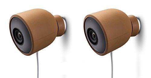 Fundas de Silicona de Color para cámara de Seguridad de Exterior Nest CAM – Protege y camufla, Fundas de Silicona Resistentes a Rayos UV e Impermeables de Wesserstein (2 Pack, Marrón)