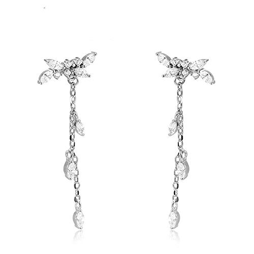 Pendientes de plata de ley 925 Pendientes de botón para mujer y niña, versión coreana de hojas nuevas Diamantes brillantes delicados Pendientes largos hipoalergénicos Moda creativa Joyería de tempera