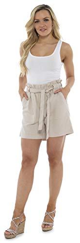 CityComfort Shorts de Lino para Mujer Mujeres Pantalones Cortos de Lino para el Verano, Vacaciones, Playa | Cintura de Bolsa de Papel de Moda (40, Beige)