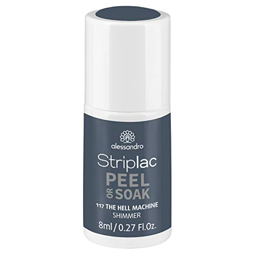 alessandro Striplac Peel or Soak The Hell Machine – LED-Nagellack in schimmerndem Blau-Grau – Für perfekte Nägel in 15 Minuten – 1 x 8ml