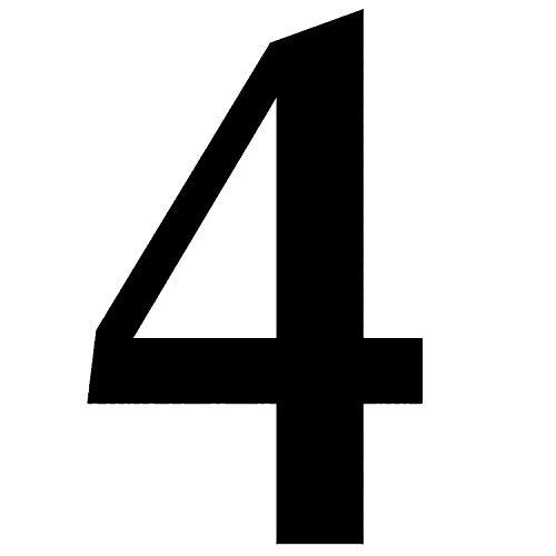 Zahlen-Aufkleber Nr. 4 in schwarz I Höhe 10 cm I selbstklebende Haus-Nummer, Ziffer zum Aufkleben für Außen, Briefkasten, Tür I wetterfest I kfz_471_4