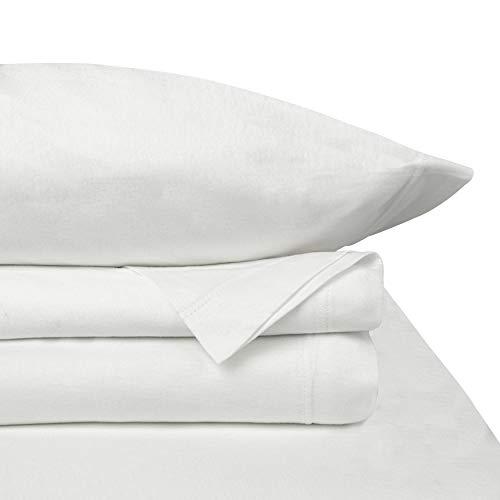 Baltic Linen Jersey Cotton Sheet Set Queen White 4-Piece Set