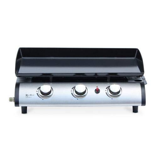 Alice's Garden Plancha au gaz 3 Feux - Porthos 3 brûleurs - 7,5 KW, Barbecue, Cuisine extérieure, Grande Plaque émaillée, INOX