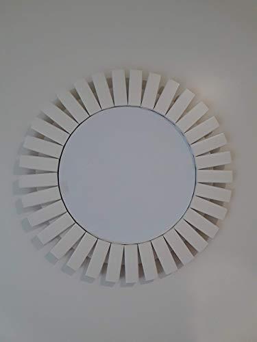 "Sunburst Wall Mirror Handmade Wood Frame 24"" Antique White"