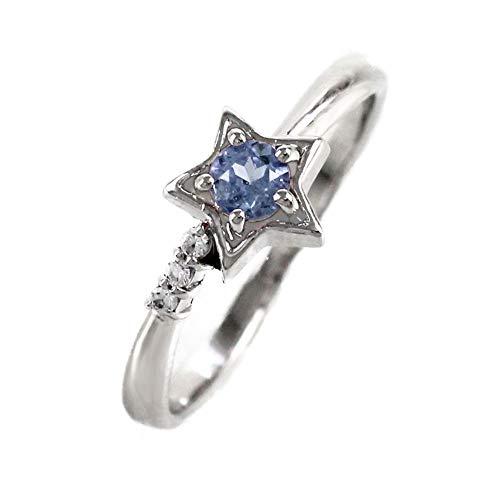 [リュイール ドゥージエム] タンザナイト ピンクゴールド K18 スター 星 一粒 10月 誕生石 ダイヤモンド リング レディース 14号
