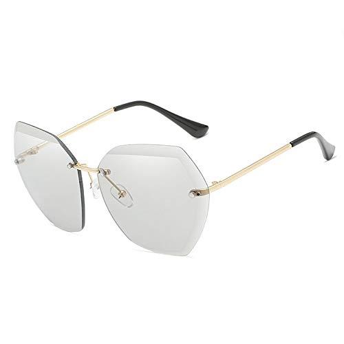 WHSS Sunglasses Gafas de Sol for la Playa Gafas de Sol Ocean Sheet Gafas de Sol sin Marco Gafas de Sol Retro for Mujer Metal - Gris