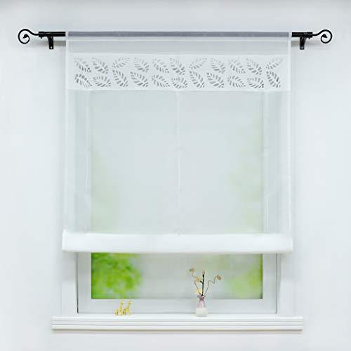 Joyswahl Voile Raffrollo mit Tunnelzug Transparente Bändchenrollo mit Blätter-Lasercut »Lilian« Schals Fenster Gardine BxH 140x140cm Weiß 1 Stück