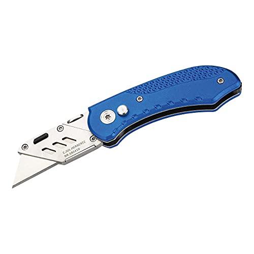 Herbertz Cuttermesser, handelsübliche Cutterklinge, Button-Lock, blaue Aluminiumschalen, Edelstahlclip, Einhandmesser, hochwertiges Klappmesser, scharfes Taschenmesser