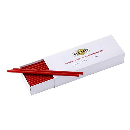 Danilovo Velas de cera de abeja (rojo) – Velas ortodoxas para oración rituales de decoración de mesa – no tóxicas, hollín – antigoteo, largas, productos sostenibles (30, altura 16 cm)