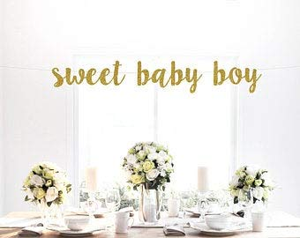 Tamengi Sweet Baby Boy - Glitter Banner, Baby Shower, It's a Boy Party, Decoration, Sign, Backdrop, Art Decor