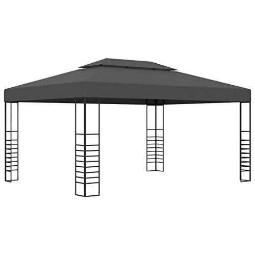 Tidyard Pergola Gazebo | Garden Sun Shade Shelter Marquee | Outdoor Party Tent Canopy | 3x4 m Anthracite