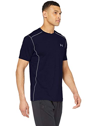 Under Armour UA Raid Short Sleeve, Maglietta Uomo, Blu (Midnight Navy/Steel 410), L