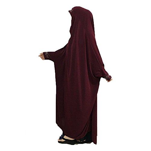 Cogongrass Women's One-piece Prayer Dress Prayer Garment Abaya Jellaba Islamic Clothing Hijab for Hajj Umrah Wine Red