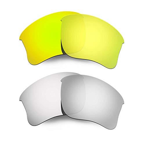 HKUCO Mens Replacement Lenses For Oakley Flak Jacket XLJ Sunglasses 24K Gold/Titanium Polarized