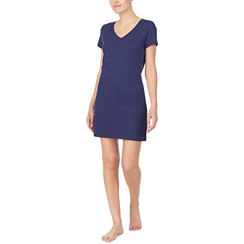 Nautica Women's V-Neck Sleep Shirt, 100% Cotton Jersey, Navy, XL