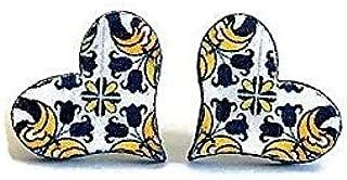 Blue White Yellow Heart Stud Earrings