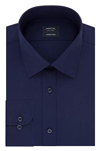 Arrow 1851 - Camisa de Vestir para Hombre, Cuello Redondo, Azul Evening, 15-15.5' Cuello 32-33' Manga