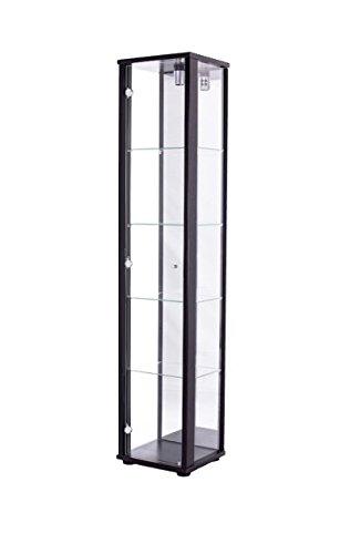 K-Möbel Glasvitrine in Schwarz (176x37x33 cm) mit 4 höhenverstellbaren Glasböden aus ESG, mit Spiegel; beleuchet; perfekt für Sammler;