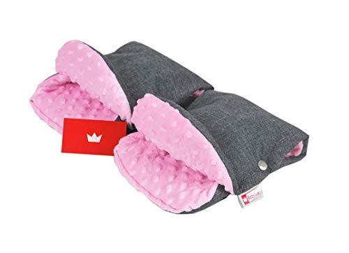 BABYLUX MUFF Handmuff PLÜSCH Handwärmer für Kinderwagen Buggy Handschuh 2 Stück (5. Grau + Minky Rosa)