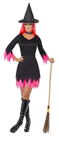 Smiffys Déguisement Femme Sorcière, Robe, Chapeau et Collier, Legends of Evil, Taille 3638, Couleur: Noir et Pink, 30880