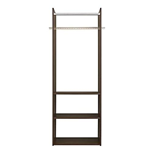 Easy Track Vertical Hanging Tower Closet Storage Solution Organizer Accessory Kit with Clothes Rod and 2 Open Shelves Truffle Finish