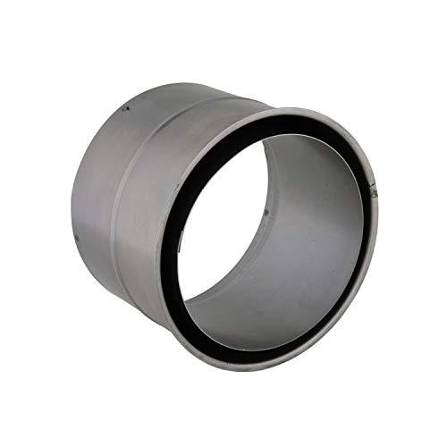 Kamino Flam Wandfutter doppelt in Silber, für Senotherm beschichtete Ofenrohre 1 mm, Doppelwandfutter aus feueraluminiertem Stahl, geprüft nach Norm EN 1856-2, Innendurchmesser: ca. 150 mm