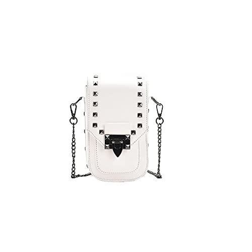 QIANJINGCQ Borsa messenger retro tutto-fiammifero rivetto borsa per cellulare semplice moda colore puro temperamento catena design zaino borsa a tracolla