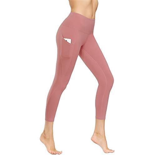 IceUnicorn Damen Leggings Lange Yogahose Sporthose Fitnesshose Laufhose 3/4 Training Tights mit Handytasche(JF.Lotus, M)