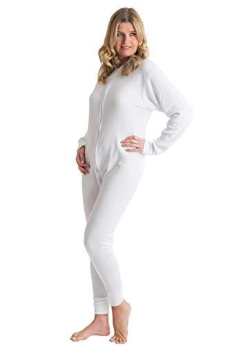 Octave® sous-vêtement Thermique Tout en Un avec Rabat arrière zippé [Petite Taille, Blanc Neige