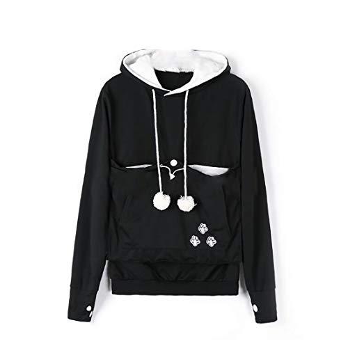 Inlefen Ropa de Mujer Lindo Bolsillo Canguro Hoodie Manga Larga Corte Ajustado Jersey Ropa Casual Sudadera Negro XL